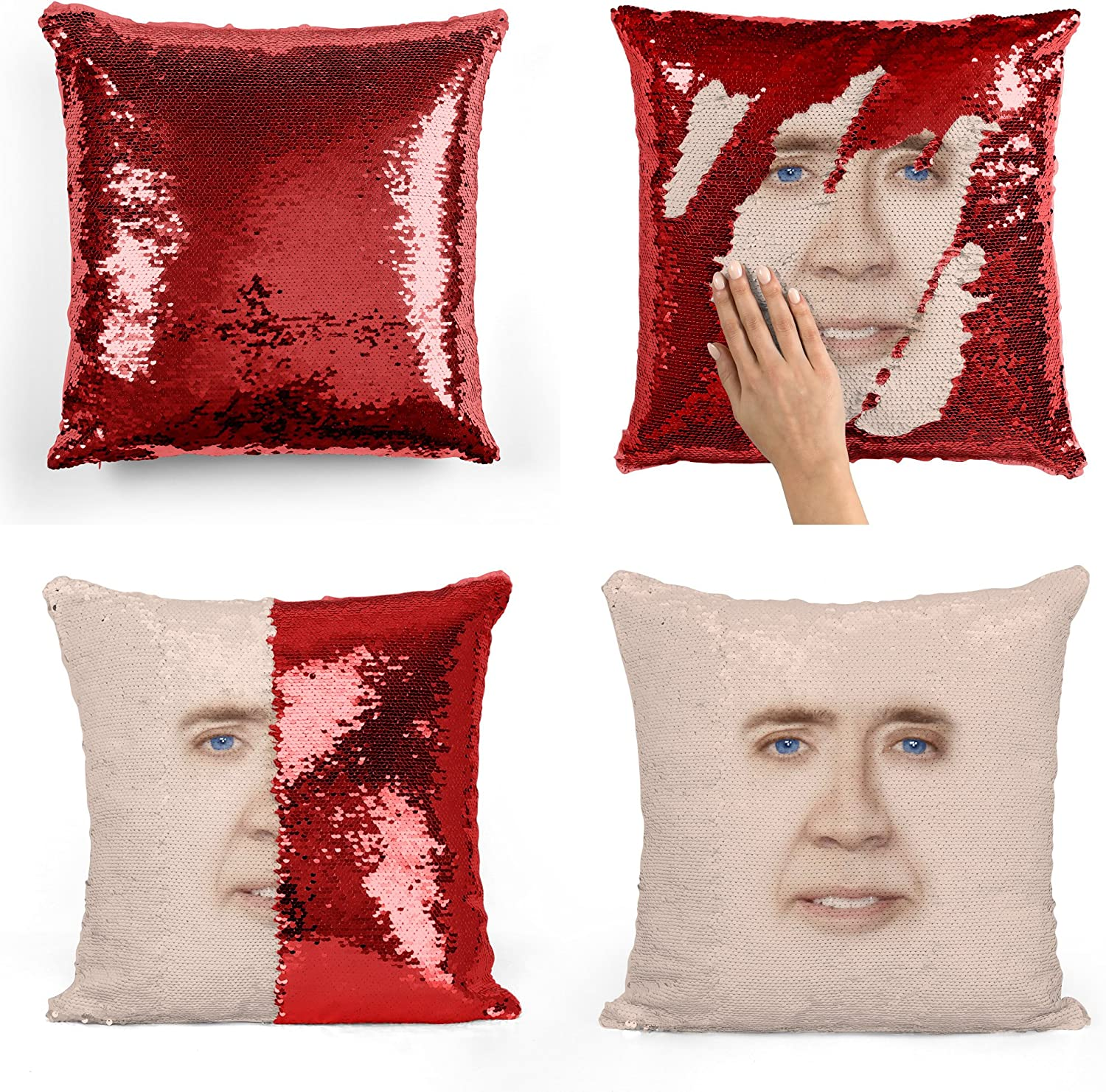 Nicolas Cage Sequin Pillow, Sequin Pillowcase, Two Color Pillow, Gift for her, Gift for him, Magic Pillow, Mermaid Pillow, Scales Pillow Cover, Funny ...