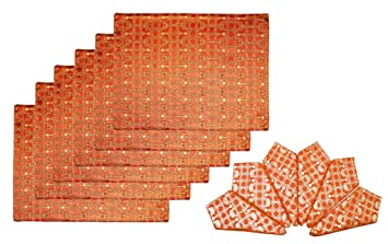 Lushomes Rust 6 Reversible Decorative Placemats and 6 Coordinating Napkin Set Place Mats at amazon