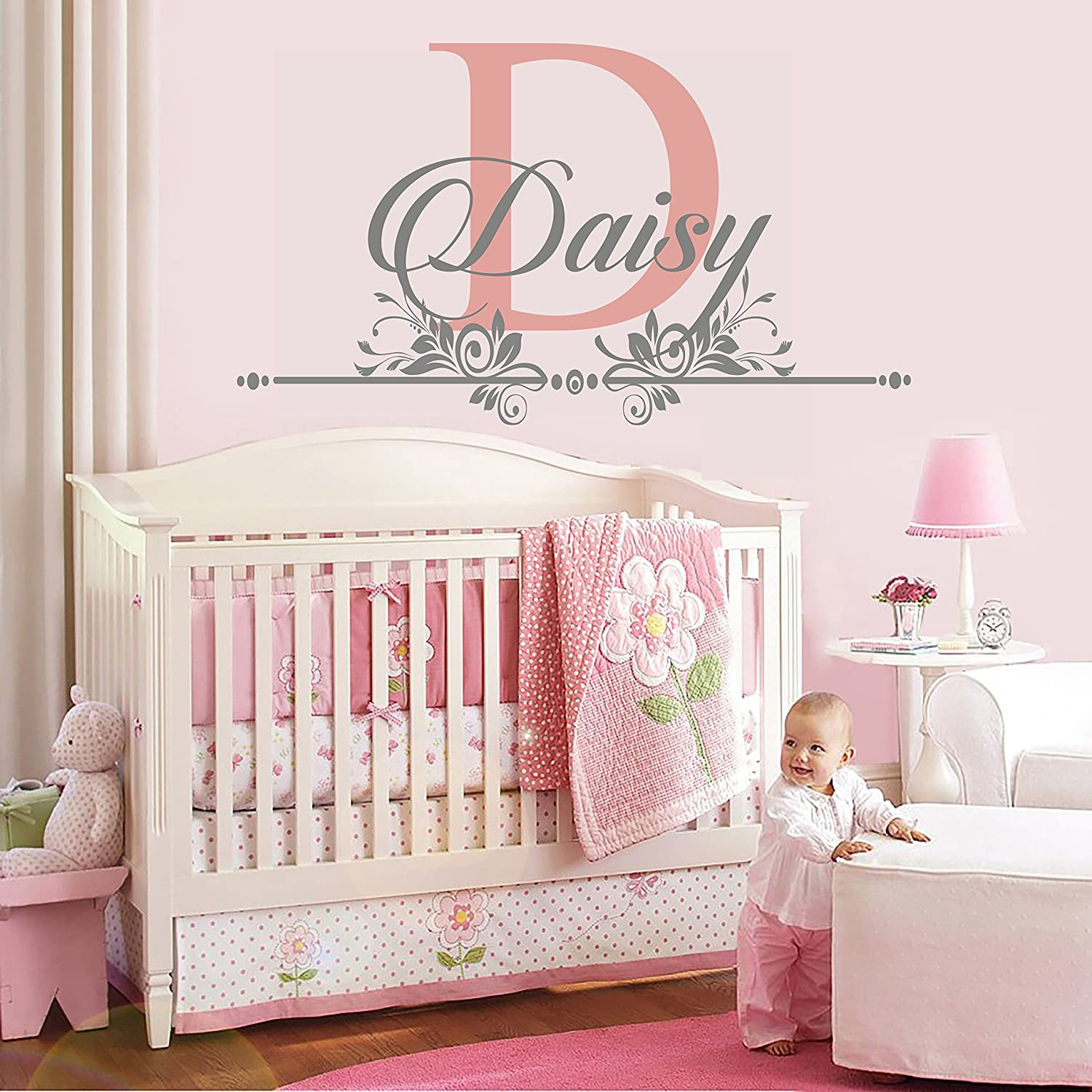 """e-Graphic Design Inc Custom Name and Initial Wall Decal Nursery - Baby Girl Decoration - Mural Wall Decal Sticker for Home Interior Decoration Car Laptop (M283) (Wide 22"""" x 12"""" Height)"""