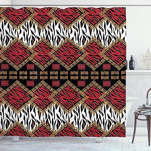 Leopard Animal Skin Print Fabric Polyester Stripes Bathroom Bath Shower Curtain