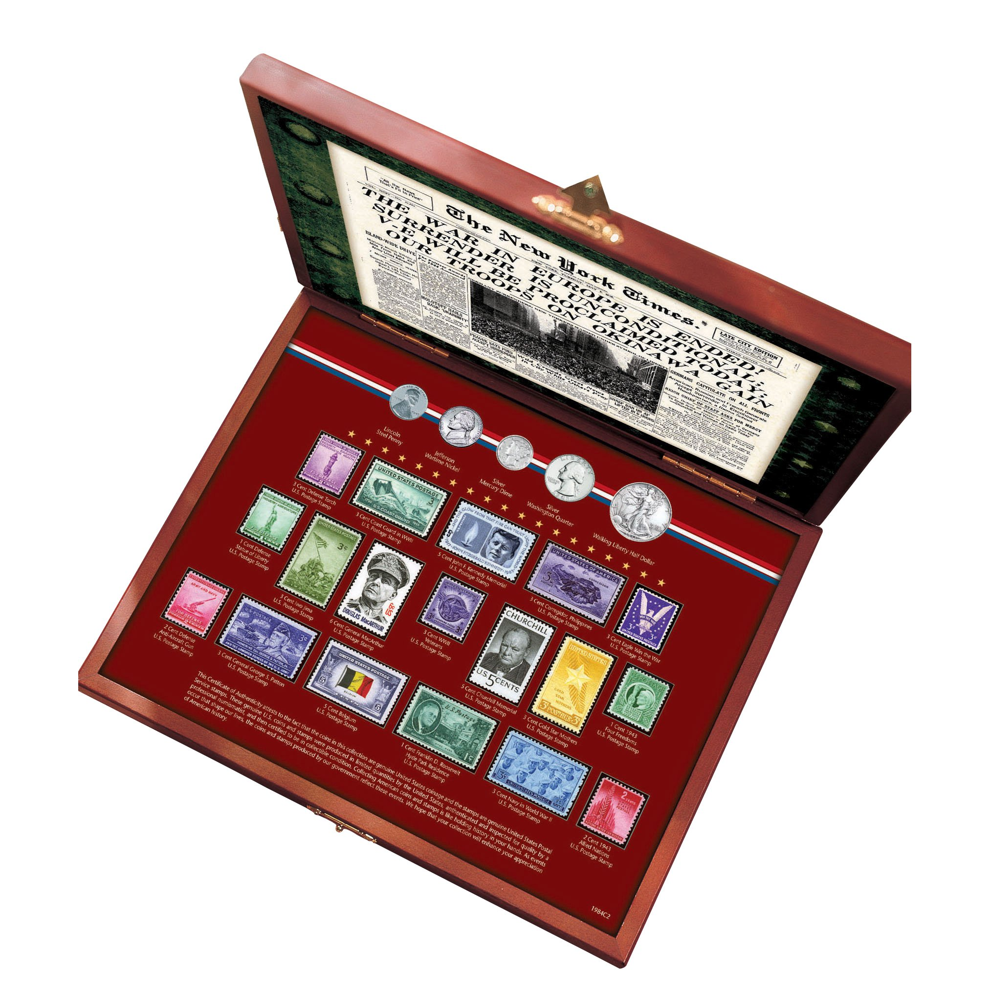 American Coin Treasures New York Times World War II Coin and Stamp Collection Boxed Set