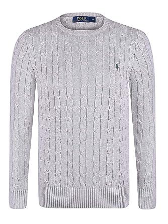 Ralph lauren pull en coton torsadé col rond - homme - gris (XL ... da530d47845f