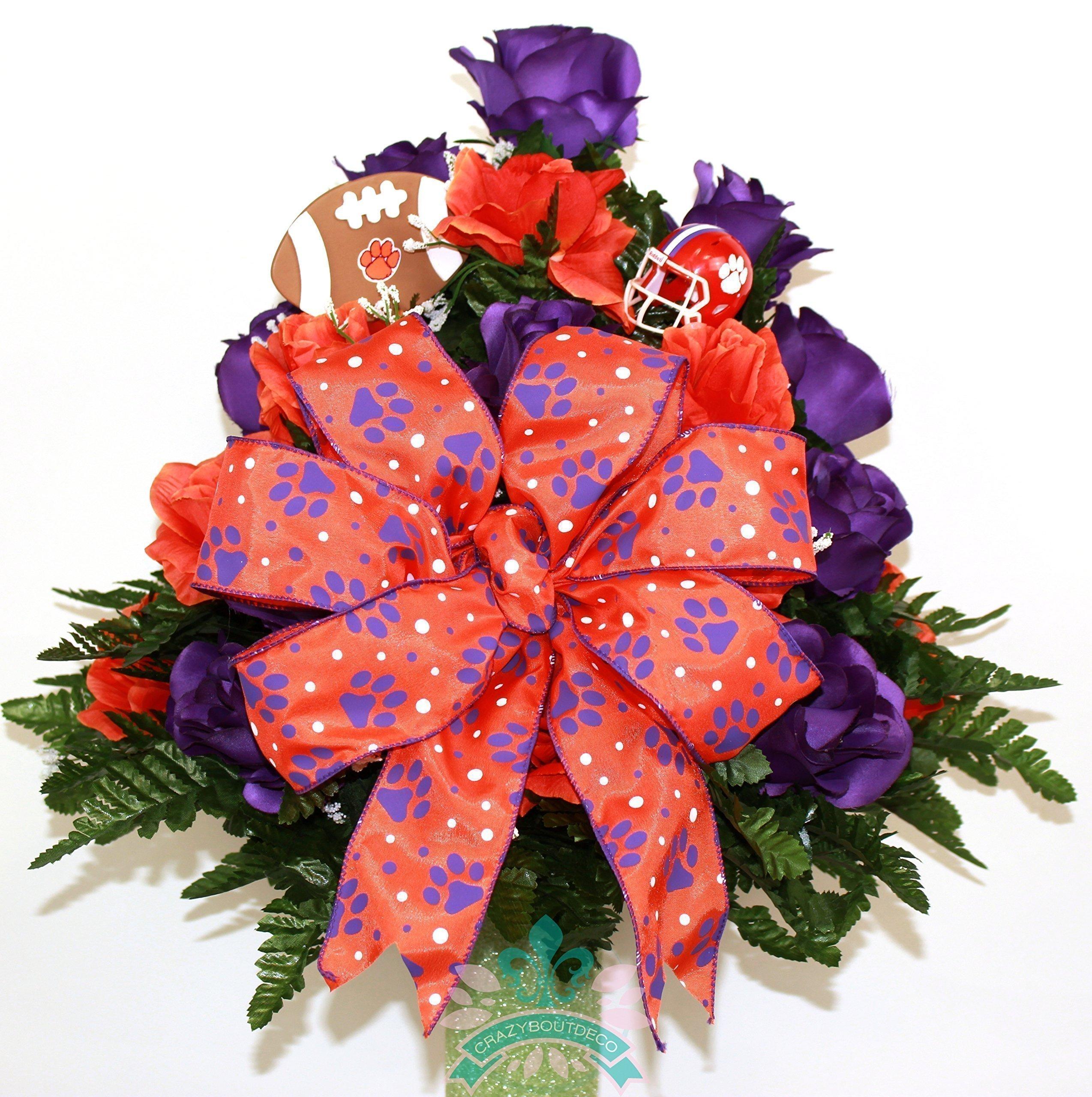Clemson-Tigers-Fan-Cemetery-Vase-Arrangement