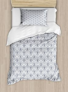 Ambesonne Geometric Duvet Cover Set, Seigaiha Pattern Overlapping Half Circles Wave Pattern Traditional Japanese, Decorative 2 Piece Bedding Set with 1 Pillow Sham, Twin Size, Blue White