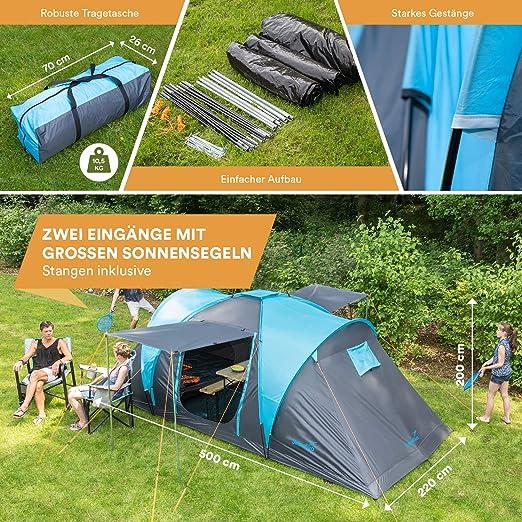 Skandika Hammerfest 4 Personas - Tienda de campaña Familiar - cúpula - Dos dormitorios- mosquiteras