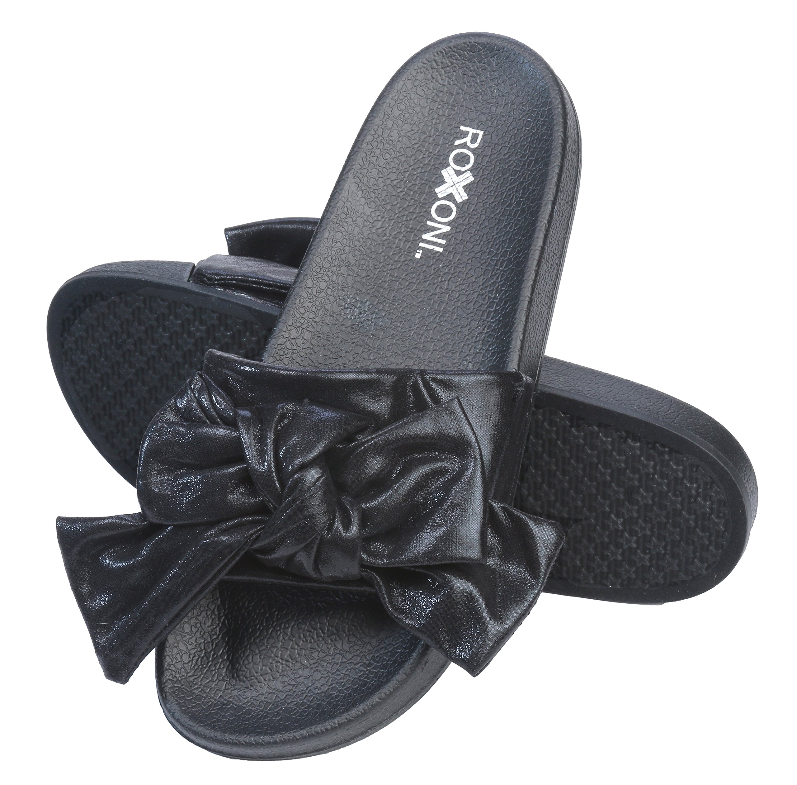 Roxoni Womens Bow Tie Sandal Open Toe Summer Slide Slipper -Great for Indoor/Outdoor by Roxoni