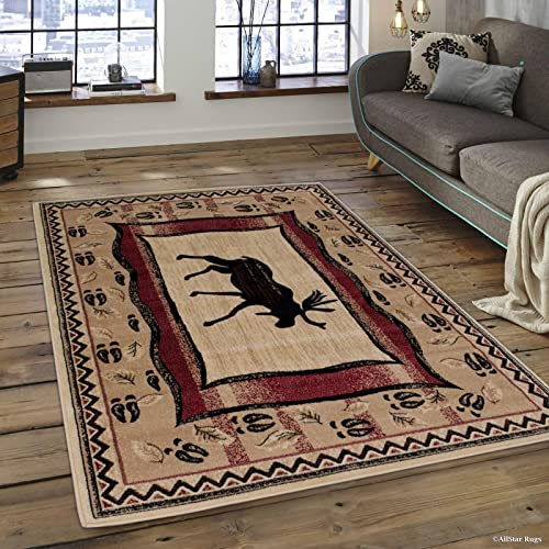 Allstar 5×7 Beige Cabin Rectangular Accent Rug with Mocha and Espresso Wildlife Moose and Moose Paw Print Design 5 2 X 7 1