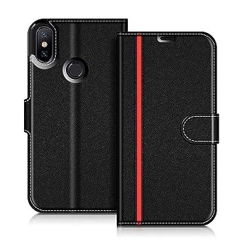COODIO Xiaomi Mi A2 Hülle Leder Lederhülle Ledertasche Wallet Handyhülle Tasche Schutzhülle mit MagnetverschlussKartenfächer für Xiaomi Mi A2,