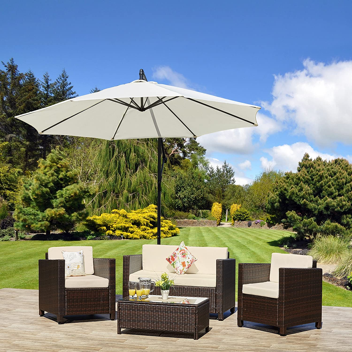 new roma rattan wicker weave garden furniture patio conservatory sofa set includes outdoor protective cover