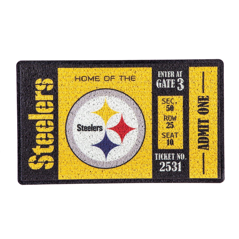 Team Sports America Pittsburgh Steelers Recyclable PVC Vinyl Indoor/Outdoor Weather-Resistant Team Logo Door Turf Mat