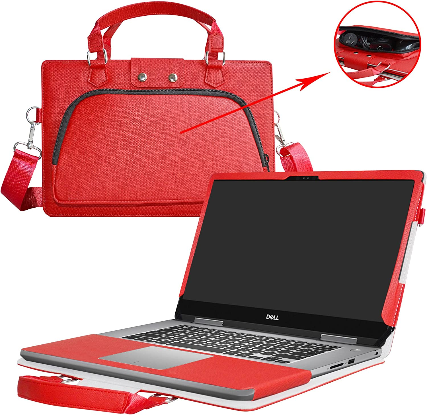 Inspiron 15 2-in-1 7579 7569 Case,2 in 1 Accurately Designed Protective PU Leather Cover + Portable Carrying Bag for 15.6