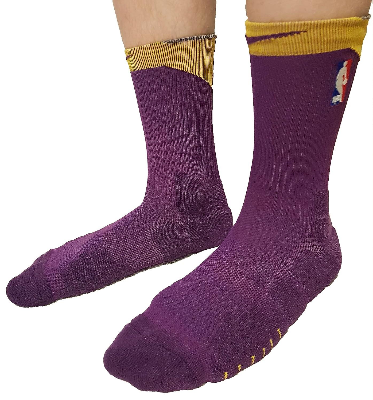 Calcetines de baloncesto NBA Logoman para hombre Tamaño: 42-46 EUR (26-28 cm) (púrpura - amarillo, top morado): Amazon.es: Ropa y accesorios
