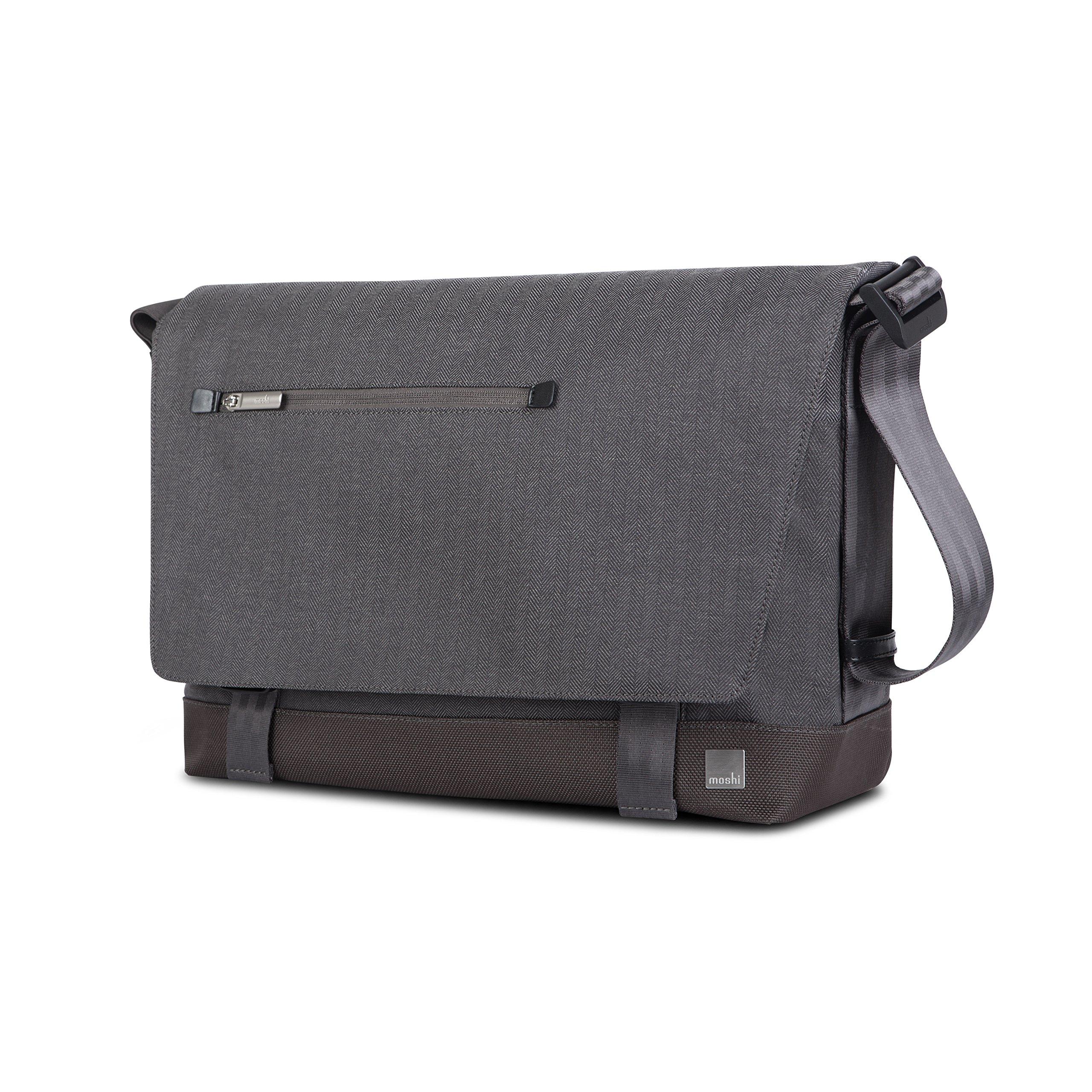 Moshi Aerio Messenger Bag (Fits up to 15'' MacBook, Chromebook, Laptop, ipad), Shoulder Strap, Men Camera Bag - Gray
