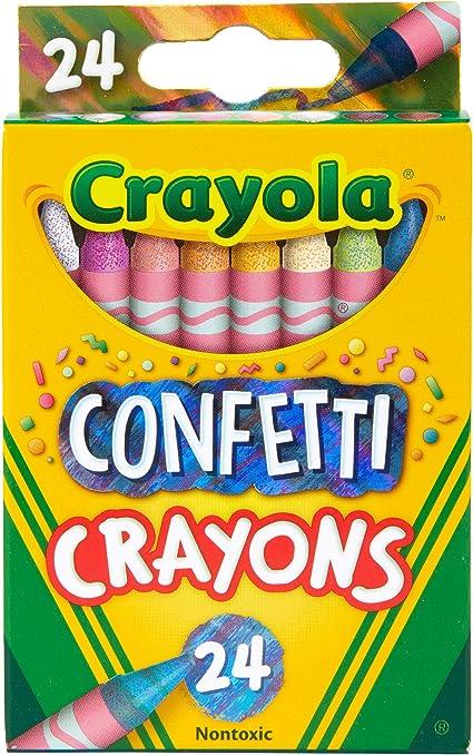 Kids Coloring Supplies Crayola Confetti Crayons Multi Color Crayons 24 Count