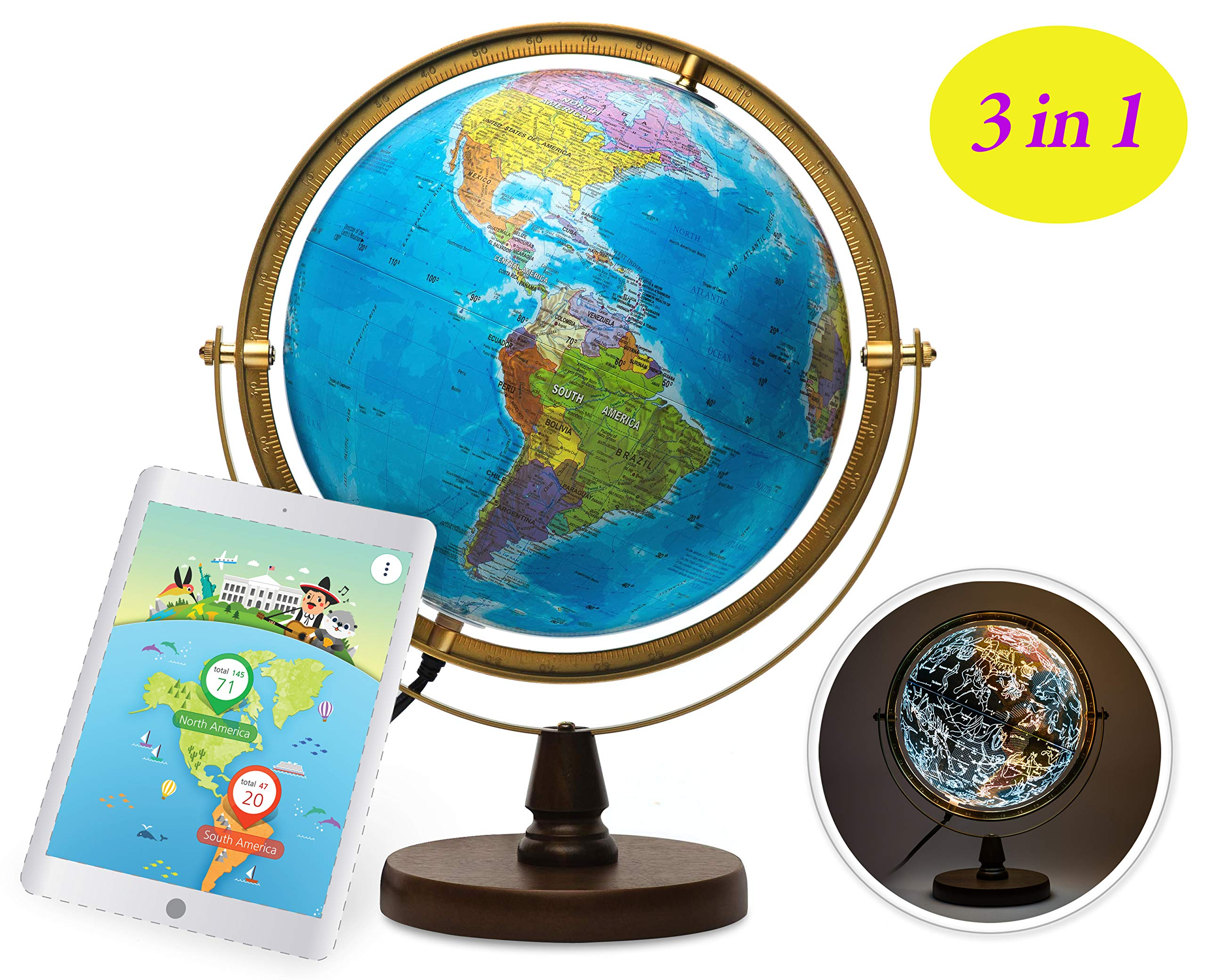SJSMARTGLOBE with Interactive APP & LED Illuminated Constellations at Night, Educational Content for Kids, US-Certified LED & US-Patented STEM Toy, 10'' Globe with Detailed map