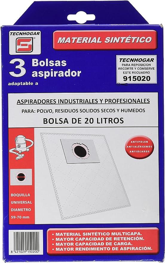 Tecnhogar 915020 Bolsa aspirador, Blanco: Amazon.es: Hogar
