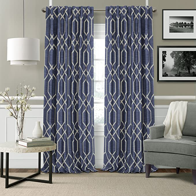 Elrene Home Fashions 22796nav Devin Single Blackout Window Curtain Panel 52 W X 95 L Navy Home Kitchen