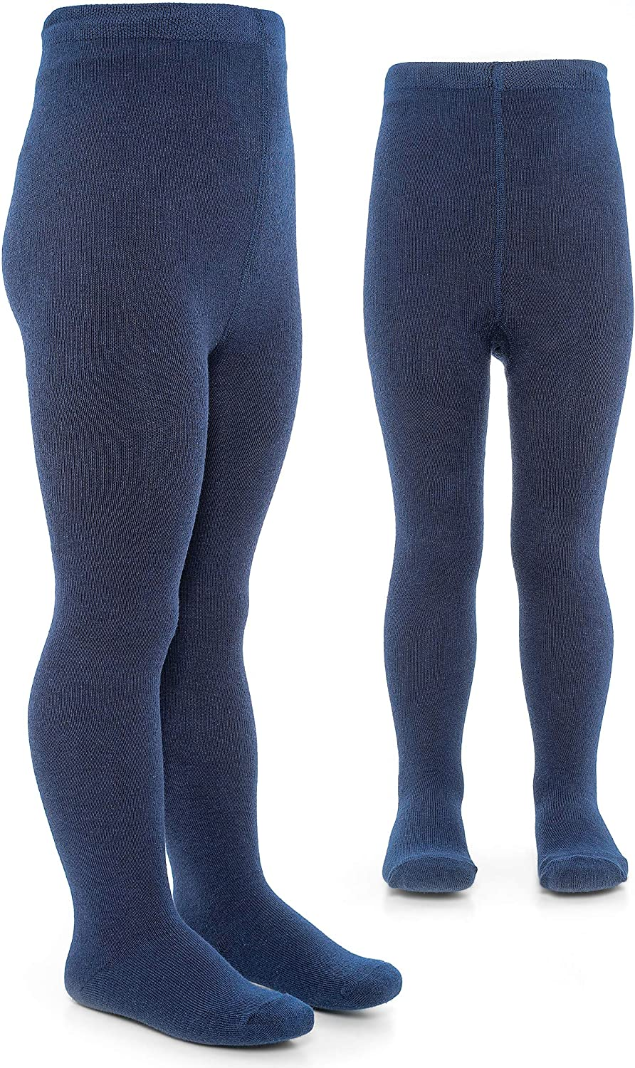 Childrens Tights with High Navy Blue 75/% Cotton Broad Waistband LaLoona Baby Tights 2 pairs