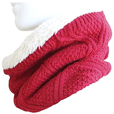 FERETI Écharpe Tube Homme Rouge Tricot Ferme Circulaire Echarpe Ronde Teddy  Fourrure Loopschal Snood 10e3bf2b972