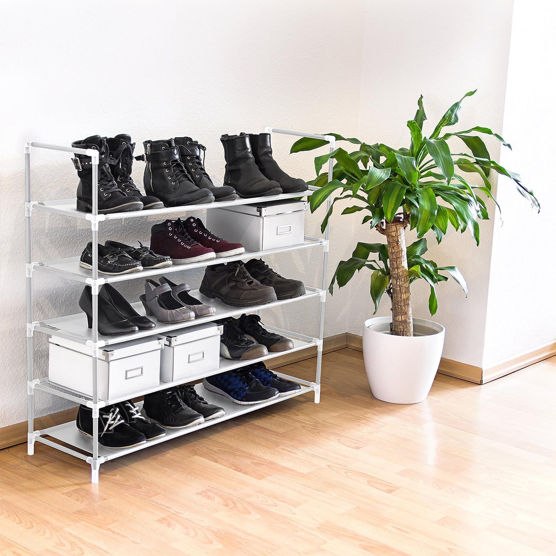 Relaxdays 10019128  /Étag/ère /à chaussures meuble souliers bottes /étages niveaux 5 niveaux jusqu/à 25 paires maximum environ Dimensions HLP 90,5 x 87 x 29,5 cm noir