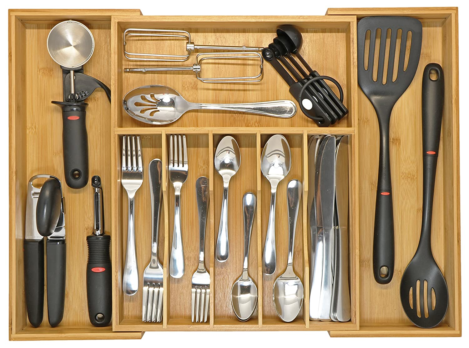 KitchenEdge Bamboo High Capacity Kitchen Drawer Organizer for Silverware, Flatware and Utensils, Expands to 21 Inches Wide, Holds 16 Placesettings KS-1004