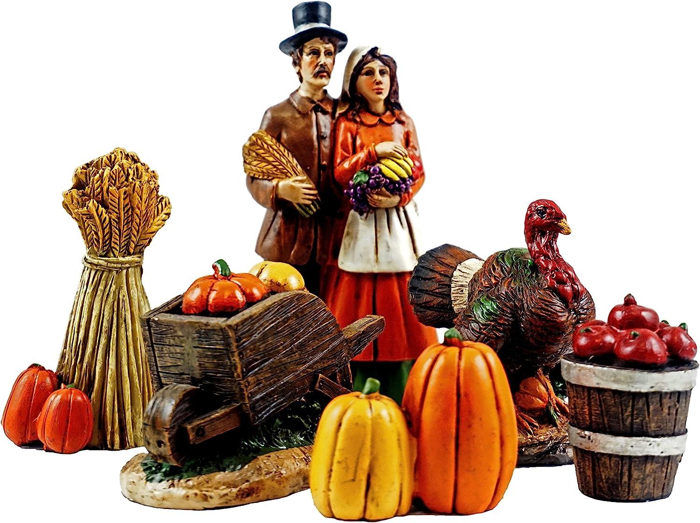 Gerson Pilgrim Village Mini Thanksgiving Figurines - Set of 6