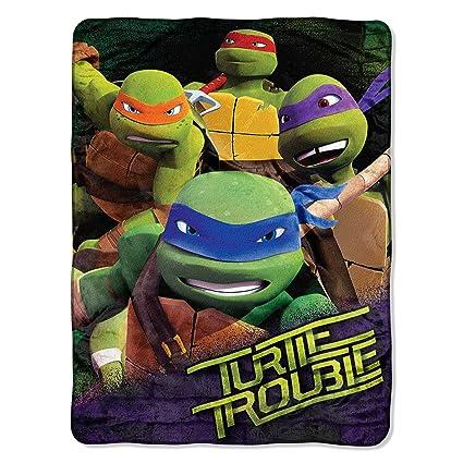 NEW Mink Sherpa Throw Blanket Turtles Nickelodeon 48*60in Kids