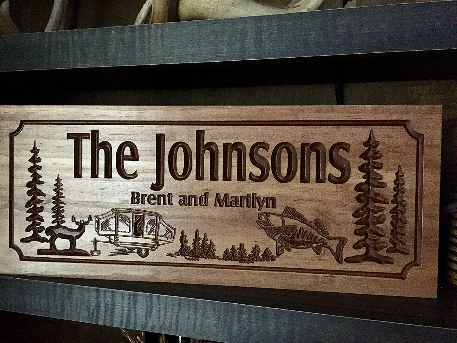 NOT BRANDED safragrans Camping Signs RV Address Plaque Camp fire Wood Printed Signs Personalized Wood Wall Art Cabin Decor Happy Campers Benchmark Signs
