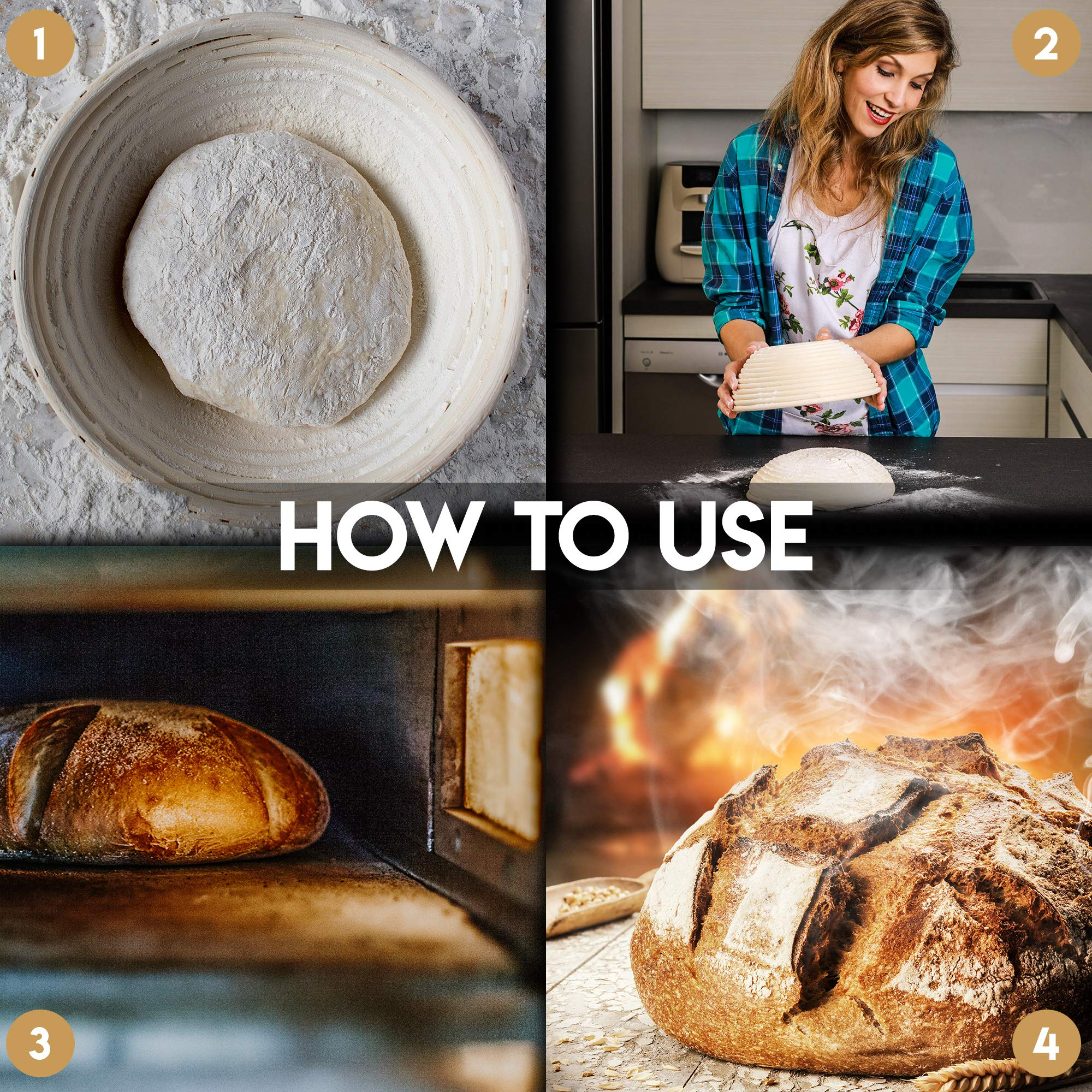 Banneton Bread Proofing Basket By Caesar Bread, 9 Inch Round Sourdough Brotform For Rising Dough Set, Include Cloth Liner, Scraper, Bread Lame, Brush & Recipe Book For Beginners & Professional Bakers by Caesar Bread (Image #3)