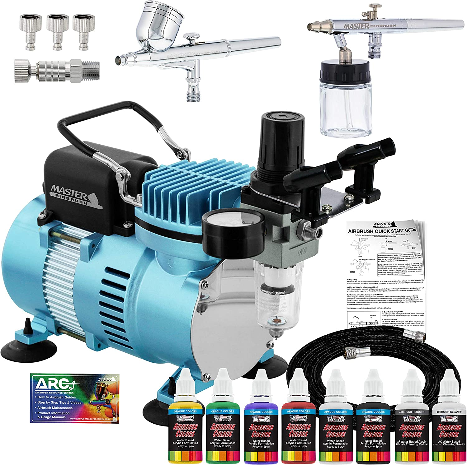 Master Airbrush Cool Runner II Dual Fan Air Compressor Airbrushing System Kit with 2 Professional Airbrushes, Gravity and Siphon Feed - 6 Primary Opaque Colors Acrylic Paint Artist Set - How to Guide