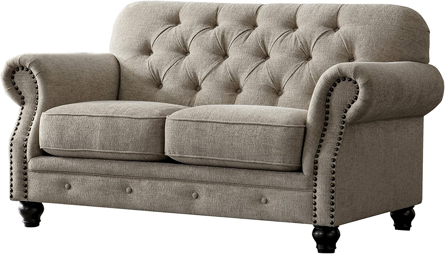 Acanva Collection Chesterfield Chenille Tufted Living Room Sofa 67 W Loveseat Almond Furniture Decor
