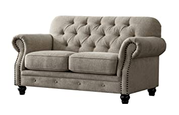Acanva Chesterfield Chenille Living Room Sofa, Loveseat, Almond