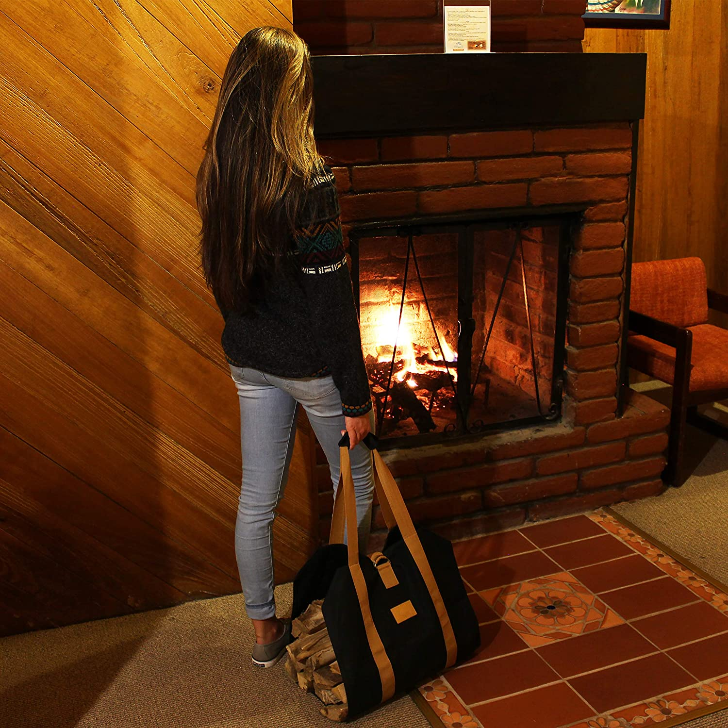 Fireplace Accessories Black Waxed Canvas Wood Bag Campfire Bonfire Off the Grid Firewood Log Carrier Bag