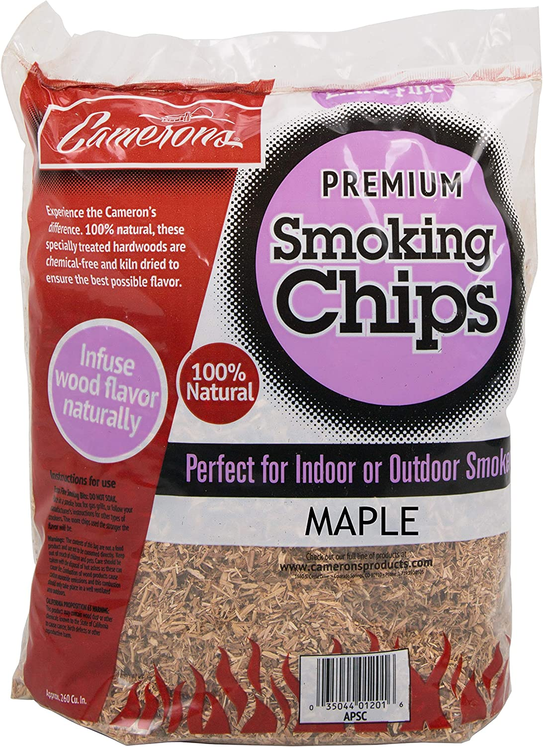 Camerons Smoking Chips - (Maple) ~ 2lb Barbecue Chips, 260 cu. in. - Kiln Dried, 100% Natural Extra Fine Wood Smoker Sawdust Shavings