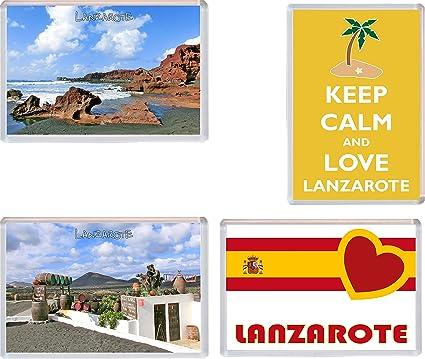 Lanzarote – Islas Canarias – España – 4 unidades – Jumbo imán para nevera imanes de/regalo/souvenir/Present: Amazon.es: Oficina y papelería