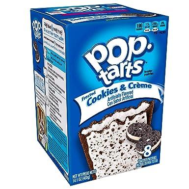 Kelloggs Pop Tarts Relleno de Cookies y Nata y Glaseado - 8 Unidades, Pack de