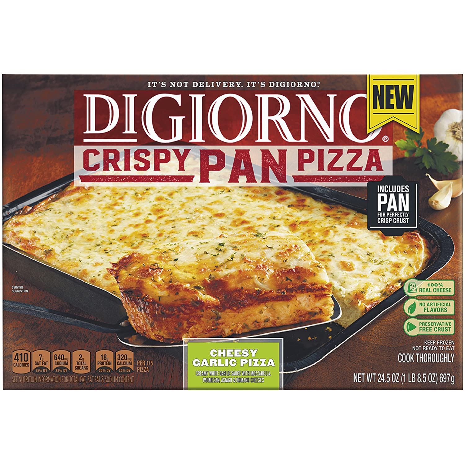 DiGiorno Cheesy Garlic Crispy Pan Frozen Pizza, 24.5 oz ...