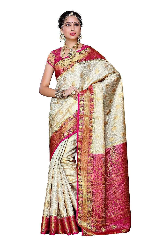 5e3c2be2f4e Mimosa Women s Traditional Artificial Silk Saree Kanjivaram Style With Blouse  Color Off White(3300-225-HWT-RNI )  Amazon.co.uk  Clothing