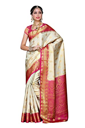 2f569f7db3 Amazon.com: Mimosa Aritificial Silk Saree Kanjivaram Style with Blouse Color  :Off White: Clothing