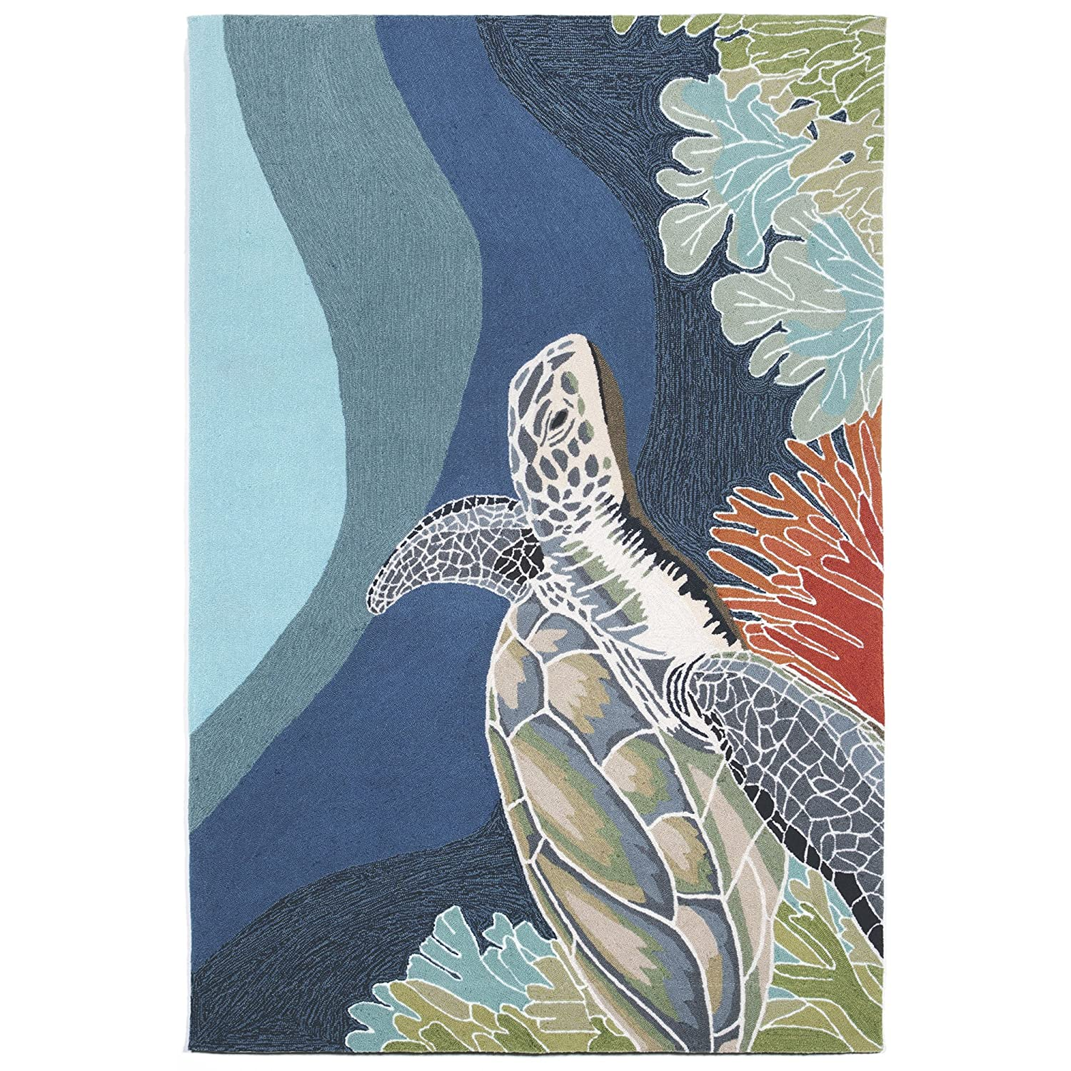 Liora Manne RV023A35904 Torello Sea Turtle Rug, Scatter Size, Ocean, 24x36 24x36 The Trans Ocean Group