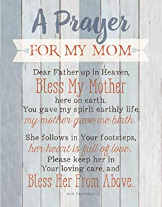 "Mom Prayer Wood Plaque with Inspiring Quotes 11.75""x15"" - Classy Vertical Frame Wall Decoration 