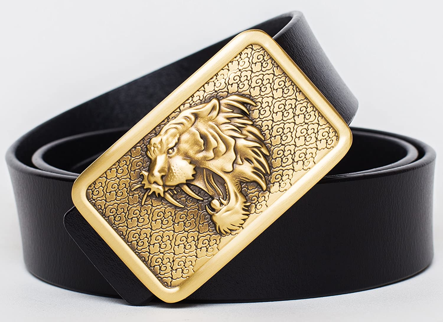 OldYak Mens Big Roaring Tiger Buckle Design Italian Leather Belt