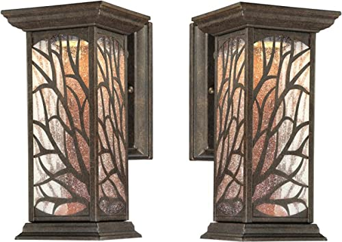 Glenwillow One-Light LED Outdoor Wall Lantern with Clear Seeded Glass, Victorian Bronze Finish 2-Pack