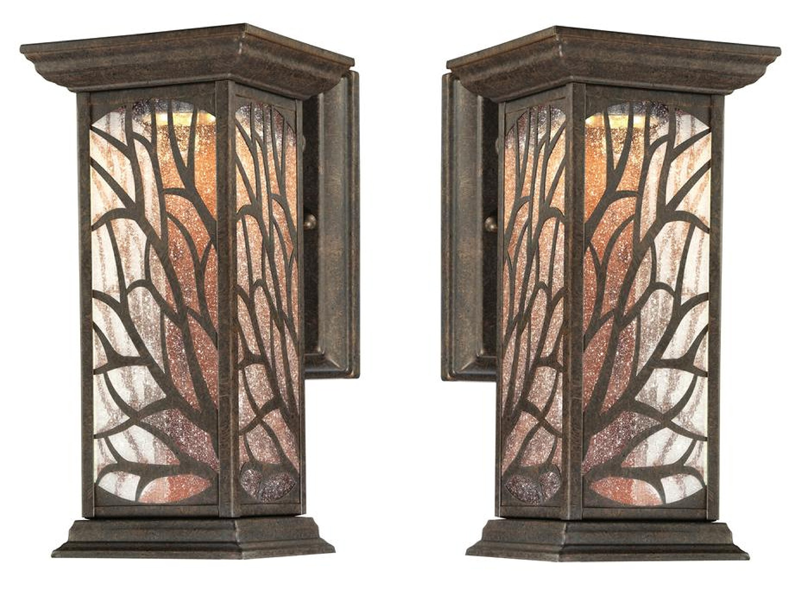 Glenwillow One-Light LED Outdoor Wall Lantern with Clear Seeded Glass, Victorian Bronze Finish (2-Pack)