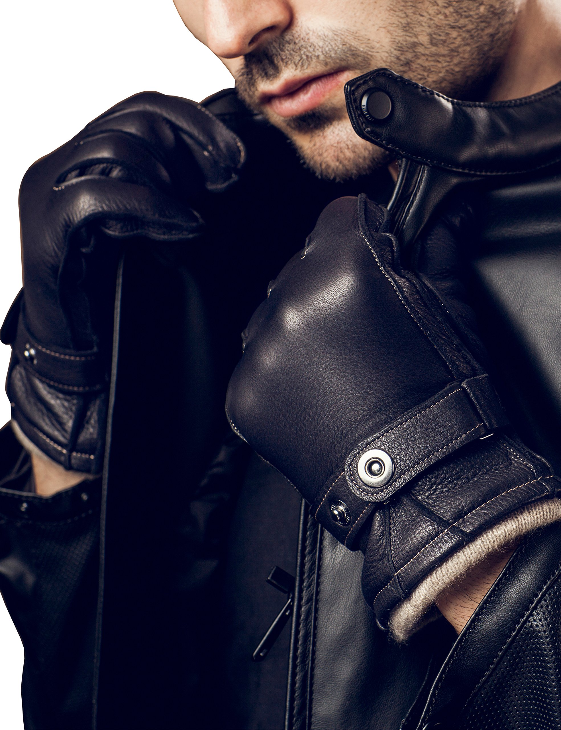 YISEVEN Men's Cashmere Lined Deerskin Leather Gloves Handsewn Belt Long Cuffs Genuine Natural Luxury Hand Warm Fur Heated Lining for Winter Dress Driving Motorcycle Work Xmas Gifts, Black 8.5''/Small