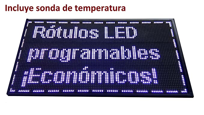 Cartel LED PROGRAMABLE (96x48 cm + Sonda Temperatura, Blanco ...