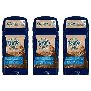 Tom's of Maine Long-Lasting Aluminum-Free Natural Deodorant for Men, Mountain Spring, 2.8 oz. 3-Pack