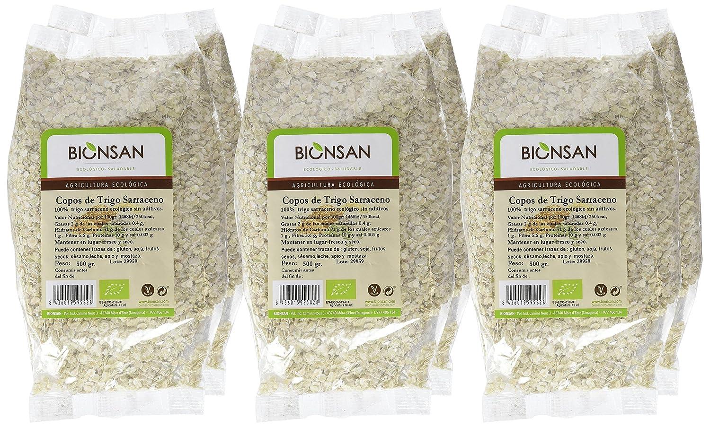 Bionsan Copos de Trigo Sarraceno | 6 Paquetes de 500 g (3 kg)