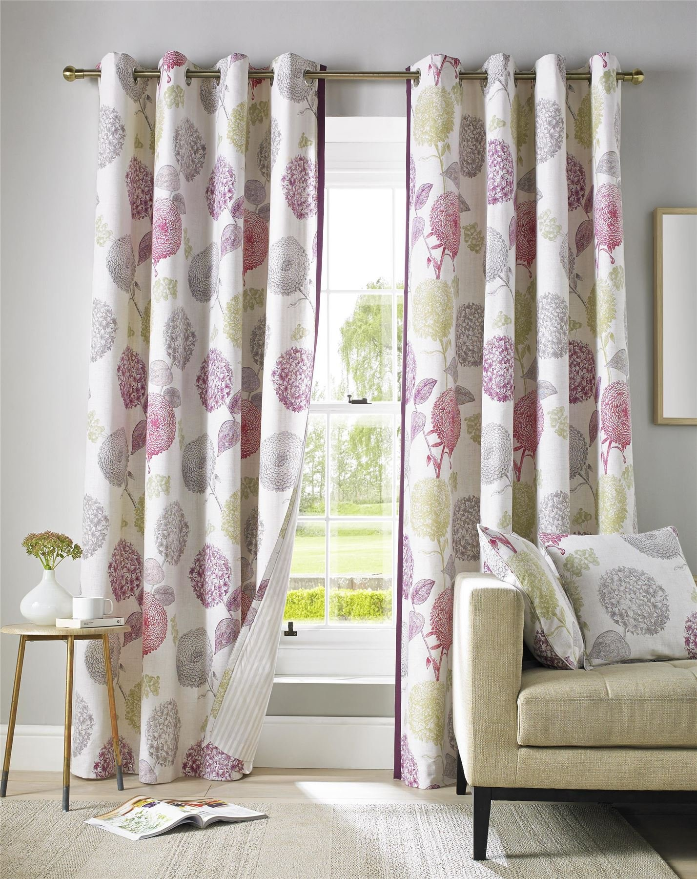 Homescapes Pink Green Grey And Cream Floral Curtain Pair Contemporary Design Fully Lined Eyelet
