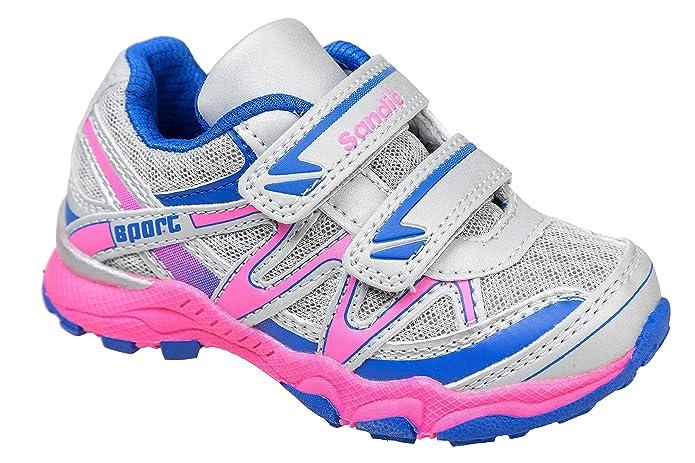 Gibra ® enfant avec fermeture velcro gris clair/bleu/rose taille 24-35:  Amazon.fr: Chaussures et Sacs